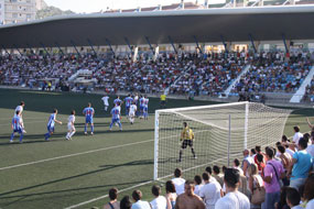 Spanish football trials at stadium